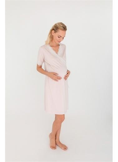 Hays Hays 29750B115 Penye Mom Dantel Detaylı Kruvaze Modal Kadın Gecelik Pembe